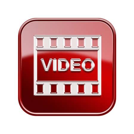 Film-Symbol glänzend rot, isoliert auf weißem Hintergrund
