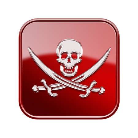 warez: Pirate icon glossy red, isolated on white backround