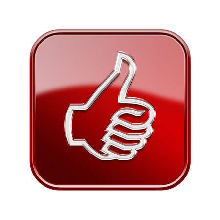 thumb up icon glossy red, isolated on white background Stock Photo - 16828023