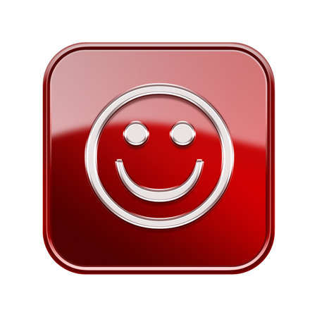 friendliness: Smiley Face glossy red, isolated on white background