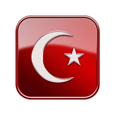 turkish flag: moon and star icon glossy red, isolated on white background Stock Photo