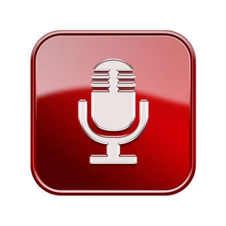 decibels: Microphone icon glossy red, isolated on white background