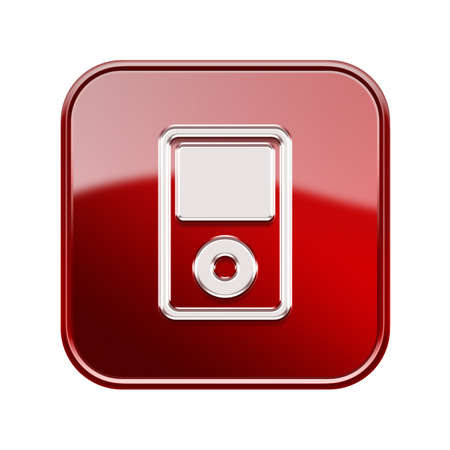 hf: mp3 player glossy red, isolated on white background Stock Photo