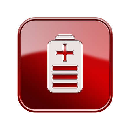 battery icon: Battery icon glossy red, isolated on white background
