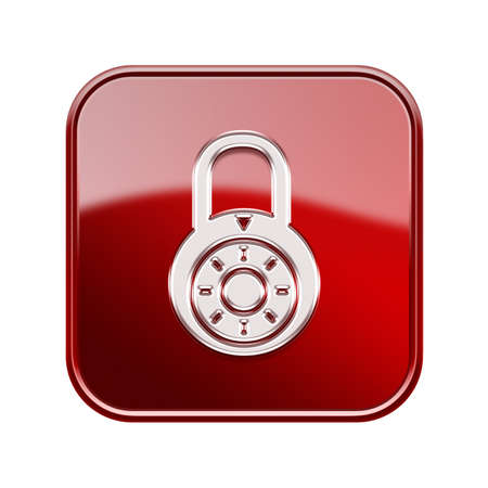 locksmith: Lock off icon glossy red, isolated on white background.