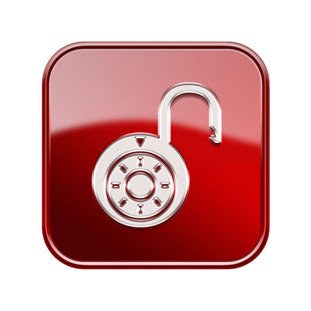 decrypt: Lock on icon glossy red, , isolated on white background. Stock Photo
