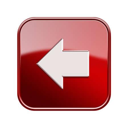 Flecha izquierda icono rojo brillante, aislado en fondo blanco