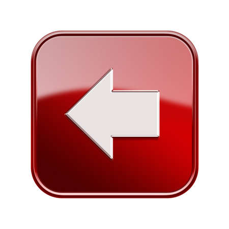 Pfeil links Symbol glänzend rot, isoliert auf weißem Hintergrund Standard-Bild