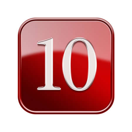 number 10: Number ten icon red glossy, isolated on white background