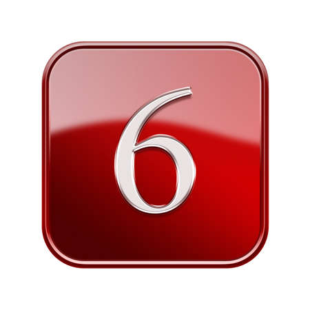 number 6: Number six red glossy, isolated on white background Stock Photo