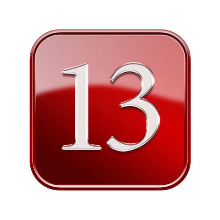 thirteen: Thirteen icon red glossy, isolated on white background