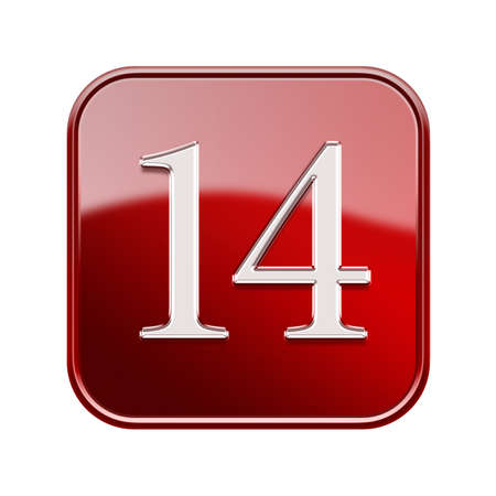 number 14: Fourteen icon red glossy, isolated on white background Stock Photo
