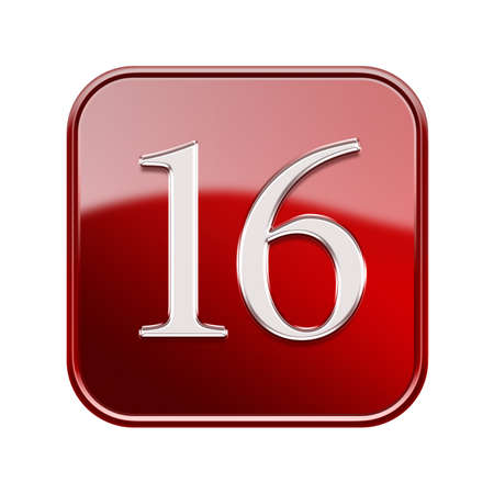 number 16: Sixteen icon red glossy, isolated on white background
