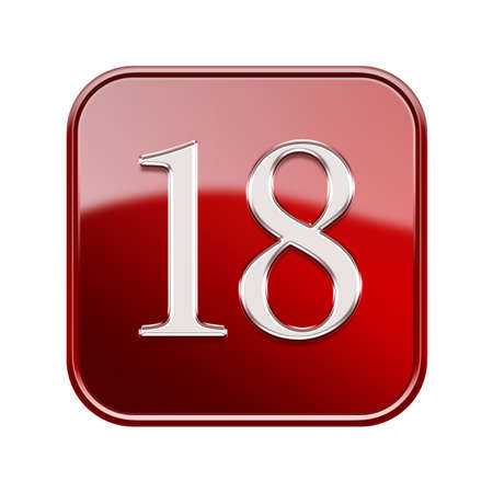 eighteen: Eighteen icon red glossy, isolated on white background Stock Photo