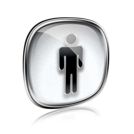 watercloset: men icon grey glass, isolated on white background