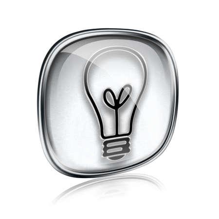 Light bulb Icon grey glass, isolated on white background photo