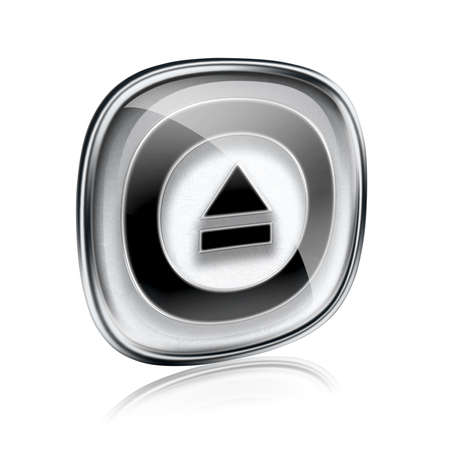 eject: Eject icon grey glass, isolated on white background. Stock Photo