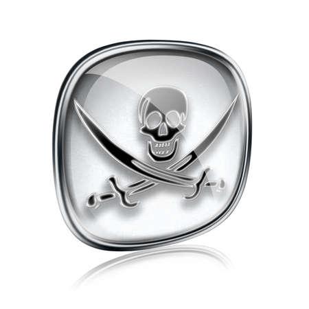 warez: Pirate icon grey glass, isolated on white background.