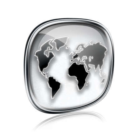 tool transparent white world: world icon grey glass, isolated on white background.