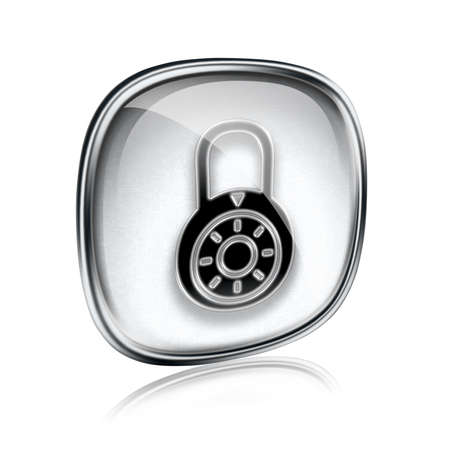 forbidden to pass: Lock off, icon grey glass, isolated on white background. Stock Photo
