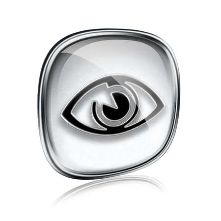clearer: eye icon grey glass, isolated on white background. Stock Photo