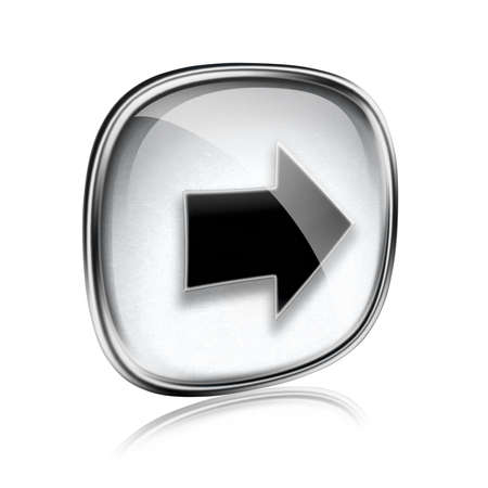 input output: Arrow right icon grey glass, isolated on white background. Stock Photo