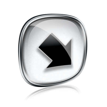 input output: Arrow icon grey glass, isolated on white background Stock Photo
