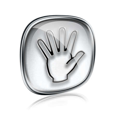 hand icon grey glass, isolated on white background. photo
