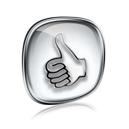 thumb up icon grey glass, approval Hand Gesture, isolated on white background. Stock Photo - 18829835