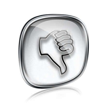 ineffective: thumb down icon grey glass, isolated on white background.
