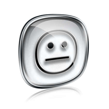 friendliness: Smiley icon grey glass, isolated on white background.