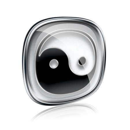 zen aum: yin yang symbol icon grey glass, isolated on white background. Stock Photo