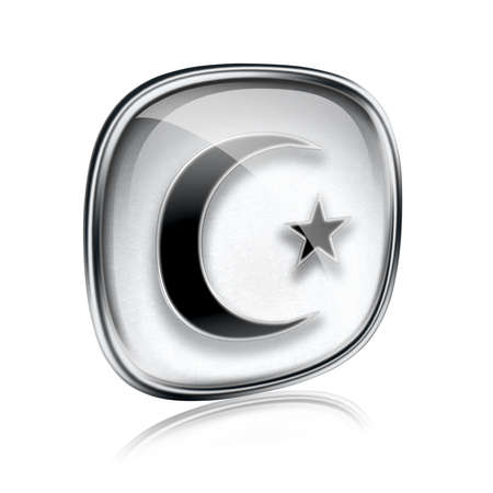 moon and star icon grey glass, isolated on white background. photo