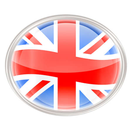glass button: United Kingdom Flag Icon, isolated on white background