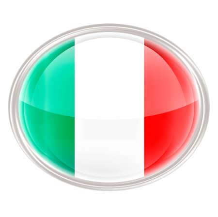 elipse: Bandera de Italia del icono, aislado en fondo blanco