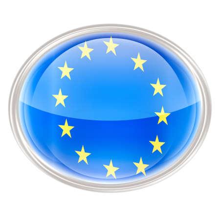 eu flag: Europe Flag Icon, isolated on white background. Stock Photo