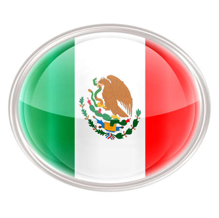 Mexico Flag Icon, isolated on white background. photo