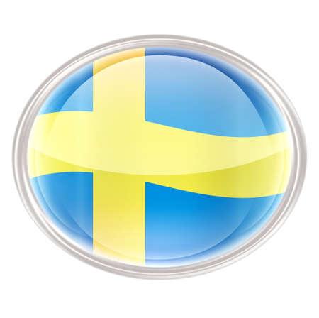 Sweden Flag Icon, isolated on white background.