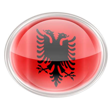 albania: Albania Flag Icon, isolated on white background.
