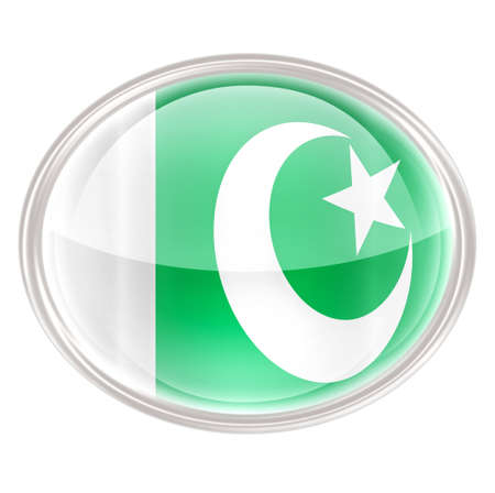 pakistan flag: Pakistan Flag Icon, isolated on white background. Stock Photo