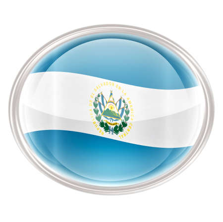 el salvador: El Salvador Flag icon, isolated on white background. Stock Photo