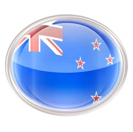 ellipses: New Zealand Flag Icon, isolated on white background.