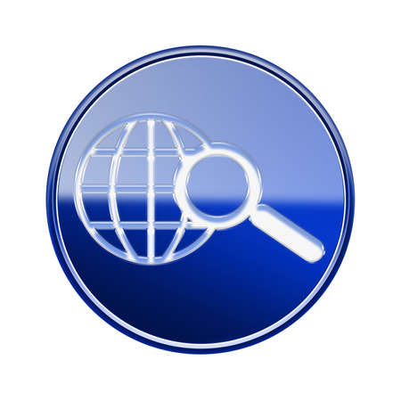 searchengine: globe and magnifier icon glossy blue, isolated on white background