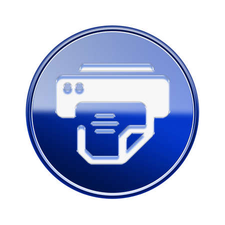Printer icon glossy blue, isolated on white background photo