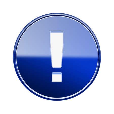 signo de admiracion: S�mbolo de exclamaci�n brillante icono azul, aislado en fondo blanco