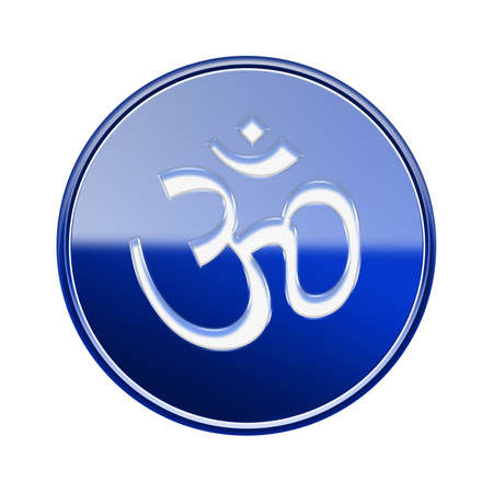 Om Symbol icon glossy blue, isolated on white background. Stock Photo