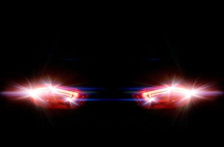 Achter de auto lichten op een zwarte achtergrond Stockfoto