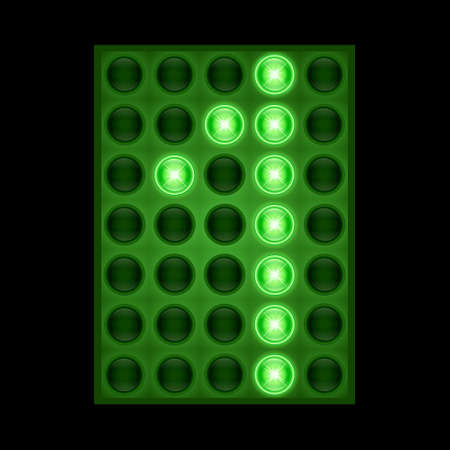Number one 1 on green LED display. vector eps 10