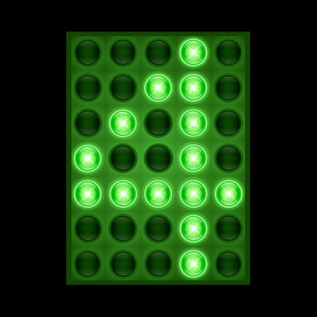 Number four 4 on green LED display. vector eps 10