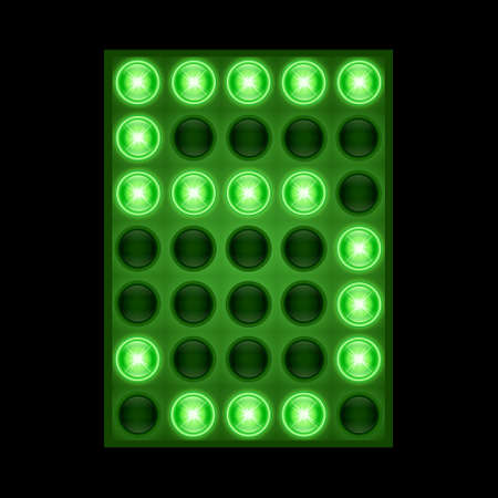 Number five 5 on green LED display. vector eps 10
